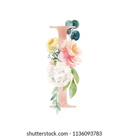 Floral Alphabet - blush / peach color letter I with flowers bouquet composition. Unique collection for wedding invites decoration and many other concept ideas.