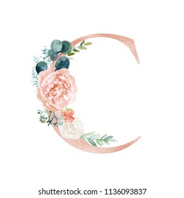 Floral Alphabet - blush / peach color letter C with flowers bouquet composition. Unique collection for wedding invites decoration and many other concept ideas.