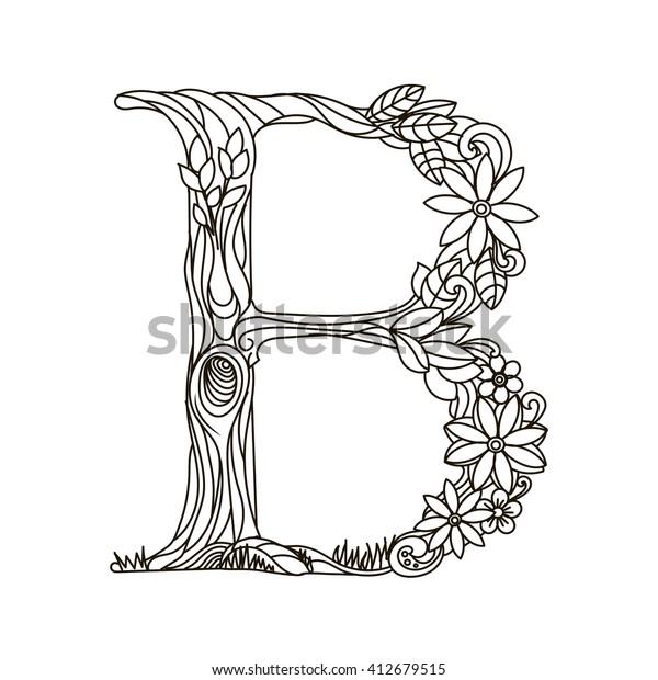 Floral Alphabet Letter Coloring Book Adults ...