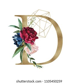 Floral Alphabet - letter D with flowers bouquet composition and delicate gold geometric shape crystal. Unique collection for wedding invites decoration and many other concept ideas.