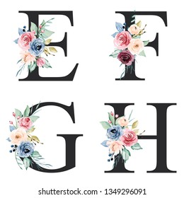 Floral alphabet, letter E, F, G, H with watercolor flowers and leaf. Monogram initials perfectly for wedding invitations, greeting card, logo, poster and other design. Holiday design hand painting.