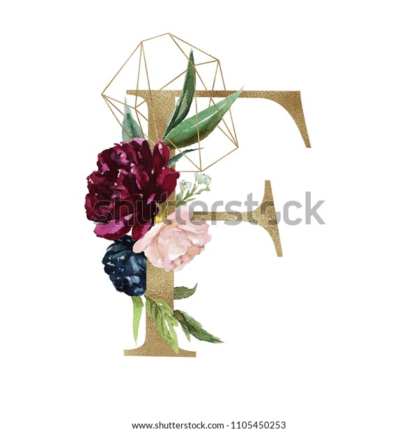 Floral Alphabet Letter F Flowers Bouquet Stock