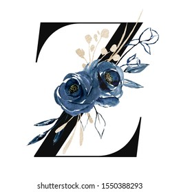 Floral alphabet, letter Z with watercolor navy blue flowers and leaf. Monogram initials perfectly for wedding invitations, greeting card, logo, poster and other design. Holiday design hand painting.