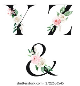 Floral alphabet, letters set with watercolor flowers and leaf. Monogram initials perfectly for wedding invitations, greeting card, logo and other. Holiday design hand painting.