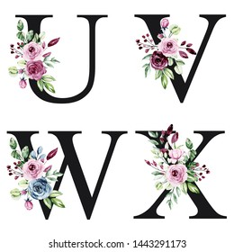 Floral alphabet, letters U, V, W, X with watercolor flowers roses and leaves. Monogram initials perfectly for wedding invitations, greeting card, logo, poster and other. Holiday design hand painting.
