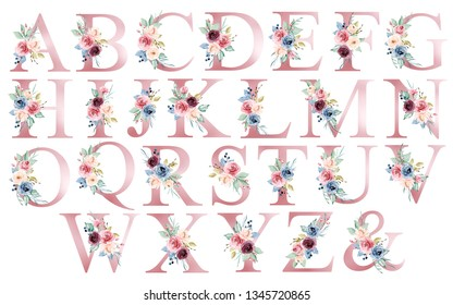 Floral alphabet, letters with watercolor flowers and leaf. Monogram initials  perfectly for wedding invitations, greeting card, logo, poster and other design. Hand painting.