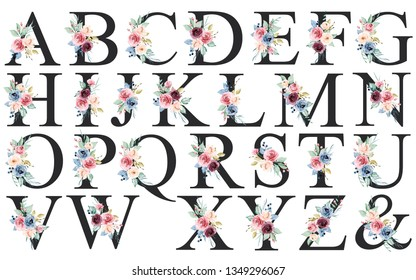 Floral alphabet, letters with watercolor flowers and leaf. Monogram initials perfectly for wedding invitations, greeting card, logo, poster and other design. Holiday design hand painting.