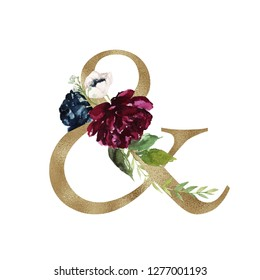 Floral Alphabet - logogram & with flowers bouquet composition and delicate gold texture. Unique collection for wedding invites decoration and many other concept ideas.