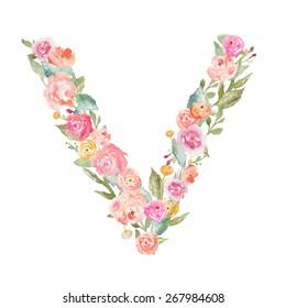 Floral Alphabet Monogram Letter V Made of Flowers