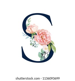 Floral Alphabet - navy color letter S with flowers bouquet composition. Unique collection for wedding invites decoration and many other concept ideas.