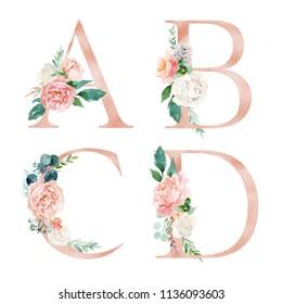 Floral Alphabet Set - letters A, B, C, D, with flowers bouquet composition. Unique collection for wedding invites decoration and many other concept ideas.
