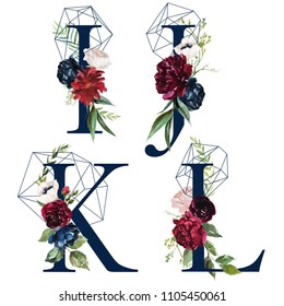 Floral Alphabet Set - letters I, J, K, L, with flowers bouquet composition and delicate navy geometric shape crystal. Unique collection for wedding invites decoration and many other concept ideas.