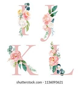 Floral Alphabet Set - letters I, J, K, L, with flowers bouquet composition. Unique collection for wedding invites decoration and many other concept ideas.