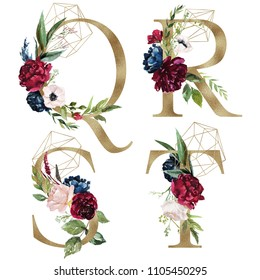 Floral Alphabet Set - letters Q, R, S, T, with flowers bouquet composition and delicate gold geometric shape crystal. Unique collection for wedding invites decoration and many other concept ideas.