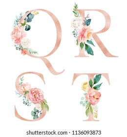 Floral Alphabet Set - letters Q, R, S, T, with flowers bouquet composition. Unique collection for wedding invites decoration and many other concept ideas.