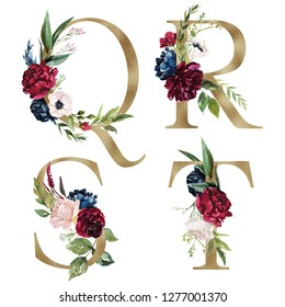 Floral Alphabet Set - letters Q, R, S, T with flowers bouquet composition and delicate gold texture. Unique collection for wedding invites decoration and many other concept ideas.