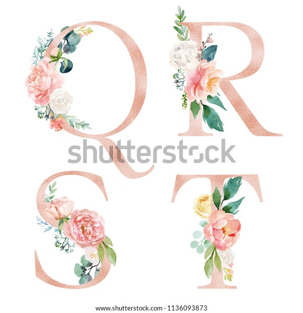 Floral Alphabet Set Letters Q R Stock Illustration 1136093873