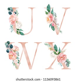 Floral Alphabet Set - letters U, V, W, X, with flowers bouquet composition. Unique collection for wedding invites decoration and many other concept ideas.