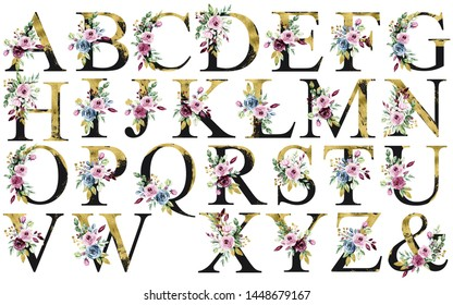 Floral alphabet set, letters with watercolor flowers and leaf. Gold and black monogram initials for wedding invitation, greeting card, logo and other. Holiday design hand painting.