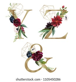 Floral Alphabet Set - letters Y, Z, &, with flowers bouquet composition and delicate gold geometric shape crystal. Unique collection for wedding invites decoration and many other concept ideas.