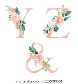 Floral Alphabet Set - letters Y, Z, & ampersand, with flowers bouquet composition. Unique collection for wedding invites decoration and many other concept ideas.