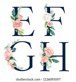 Floral Alphabet Set - set of navy letters E, F, G, H with flowers bouquet composition. Unique collection for wedding invites decoration and many other concept ideas.