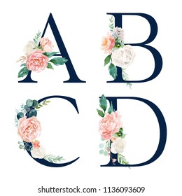 Floral Alphabet Set - set of navy letters A, B, C, D with flowers bouquet composition. Unique collection for wedding invites decoration and many other concept ideas.