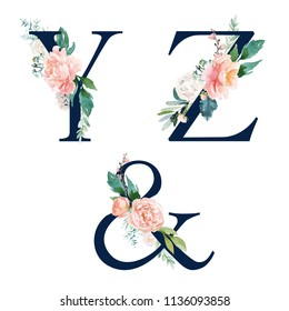 Floral Alphabet Set - set of navy letters Y, Z, & ampersand with flowers bouquet composition. Unique collection for wedding invites decoration and many other concept ideas.