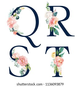 Floral Alphabet Set - set of navy letters Q, R, S, T with flowers bouquet composition. Unique collection for wedding invites decoration and many other concept ideas.