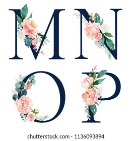 Floral Alphabet Set - set of navy letters M, N, O, P with flowers bouquet composition. Unique collection for wedding invites decoration and many other concept ideas.