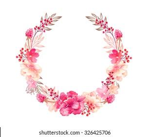 floral arrangement, wreath, flowers bouquet, design elements, watercolor illustration isolated on white background