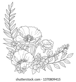 Floral arrangements with poppy flowers, tulip buds, branch of a palm Robelini, Ruscus, sprigs with buds, black outline on the white background, for greeting cards, invitations, weddings, birthdays