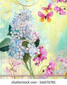 floral background with flower's and butterfly's
