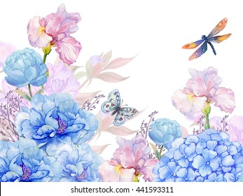 floral background .illustration of watercolor. flowers peonies, irises, hydrangeas,butterflies and dragonflies . postcard floral pattern