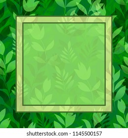 Floral Background, Landscape, Summer or Spring Meadow, Green Grass, Flowers Silhouettes and Frame for Your Text.