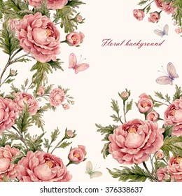 Floral background with roses and butterflies-1.  A vivid illustration and background for your design and decoration.