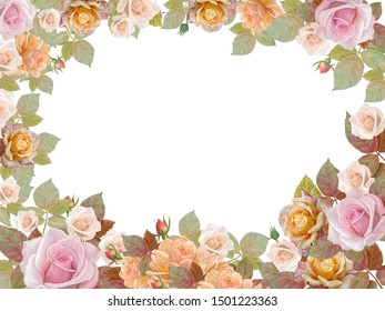 Floral background with roses, for postcard design, on isolated white background