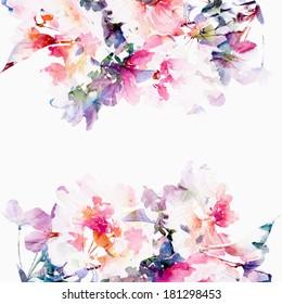 花卉背景。 玫瑰。 水彩花卉花束。 生日卡