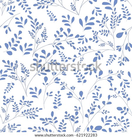 Floral background. Seamless illustration with small leaves and twigs of plants. Beautiful simple pattern