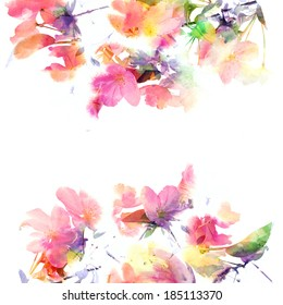 花卉背景。 水彩花卉花束。 生日卡
