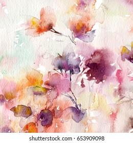 花卉背景。 水彩花卉背景。 贺卡 婚礼邀请函模板。 花卡。 春天的花朵。 水彩花卉墙艺术画家居装饰.