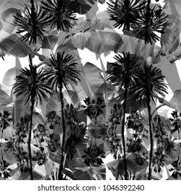 Floral balck and white pattern. Tropical palm repeat leaves exotic banana. Jungle textures on a foliage - camouflage background. Dark phoro collage