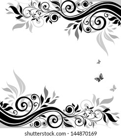 Floral banner (black and white). Raster copy of vector image