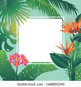 Floral banner with tropical leaves and exotic flowers design.