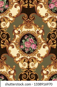 Floral baroque classic damask backdrop white gold color framed jacquard woven pattern