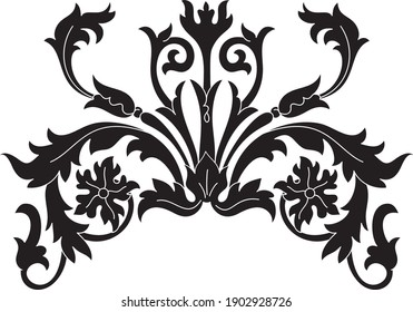 floral baroque motif black silhouette isolated on white background