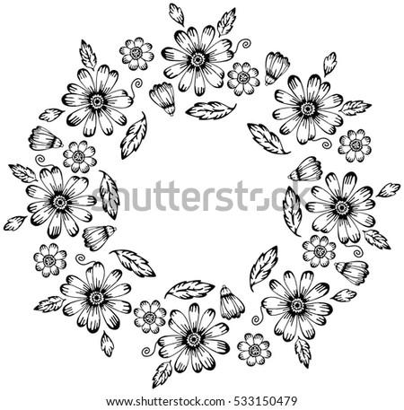 Floral Black White Round Frame Fabric Stock Illustration 533150479 ...