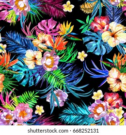 Floral bloom repeat flowers tropical pattern vivid watercolor painting allover background. Blossom flower colorful leaves monstera, palm leafs, hibiscus, strelizia. Paradise seamless patterns trendy.