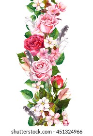 Floral border with apple or cherry flowers (sakura blossom), roses flowers and feathers. Watercolor seamless frame in boho style