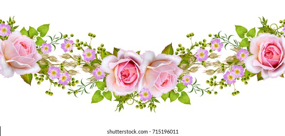floral border. Pattern, seamless. Old style. Flower garland of delicate pink roses, buds. Isolated on white background.